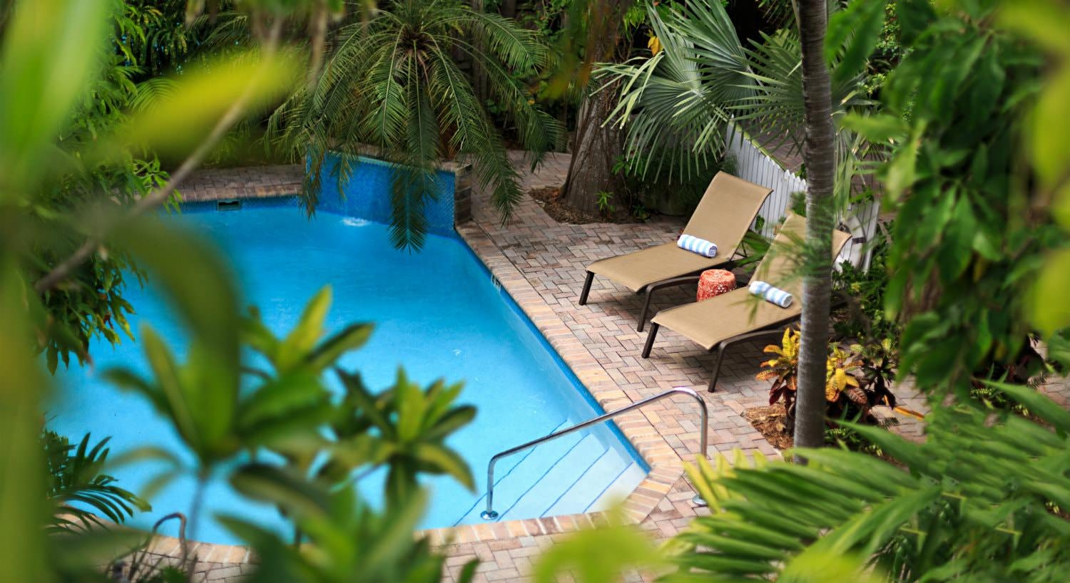 Diamond shaped pool with brown lounge chairs with blue and white towels surrounded by lush greenery