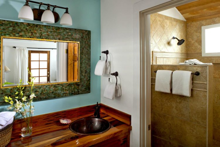 Wood cabinet with antique brass sink and fixtures and rectangular mirror with connecting bathroom with tiled walk-in shower