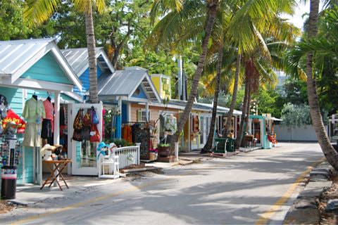 Colorful stores along street surrounded by palm trees with variety of merchandise hanging in front